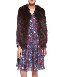 Haute Hippie Sleeveless Two Tone Fur Vest Merlot Black