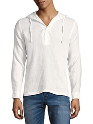 Saks Fifth Avenue Black Classic Linen Hooded Henley White