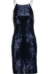 Badgley Mischka Draped Sequined Tulle Dress Midnight Blue