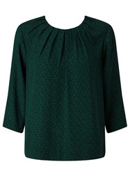 John Lewis Pleat Neck Top Green