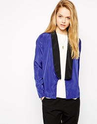 Glamorous Blazer With Contrast Lapels Blue