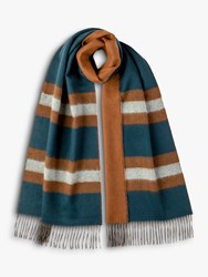 Johnstons Of Elgin Cashmere Merino Reversible Stripe Scarf Teal Brown
