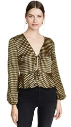 The Fifth Label Goldie Check Top Yellow Black