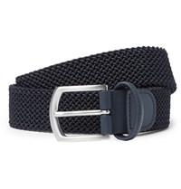 Andersons 3.5Cm Navy Leather Trimmed Woven Elastic Belt