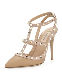 Valentino Rockstud Leather T Strap Pump Alpaca