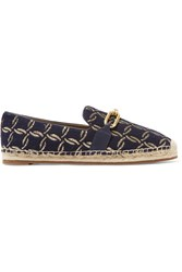 Michael Kors Collection Lennox Leather Trimmed Jacquard Espadrilles Navy