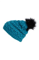 Women's Collection Xiix Crochet Pompom Beanie Blue Emerald Isle