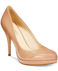 Nine West Kristal Platform Pumps Women's Shoes Natural Patent