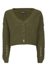 Topshop Cropped Fisherman Cardigan Khaki