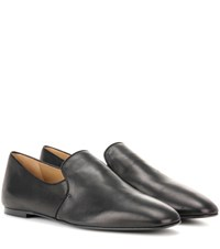 The Row Alys Leather Slippers Black