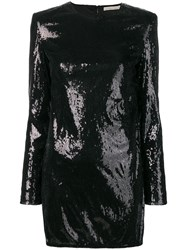 Amen Sequinned Mini Dress Black