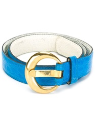 Yves Saint Laurent Vintage Croc Embossed Waist Belt Blue