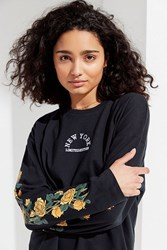 Urban Outfitters Uo New York Floral Tee Black
