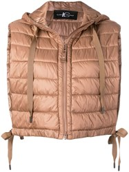 Luisa Cerano Cropped Padded Gilet Nude And Neutrals