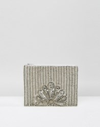 True Decadence Silver Sequin Zip Top Clutch Bag Silver