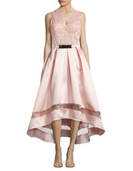 Nicole Bakti Embroidered Hi Lo Gown Blush