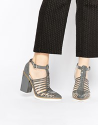 Asos Ozone Caged Pointed Heels Grey