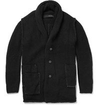 Isabel Benenato Shawl Collar Alpaca And Yak Blend Cardigan Black