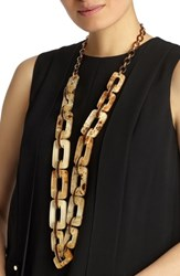 Lafayette 148 New York Wood Square Link Necklace Camel Multi