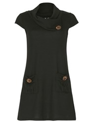 Izabel London Tunic Top With Oversized Buttons Black