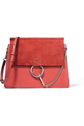 Chloe Faye Medium Leather And Suede Shoulder Bag Tomato Red