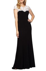 Alex Evenings Women's Lace Yoke Jersey Gown
