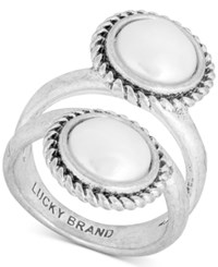 Lucky Brand Silver Tone Imitation Pearl Double Row Ring