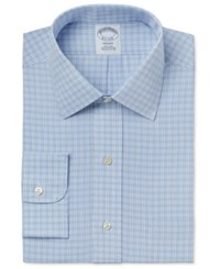 Brooks Brothers Men's Regent Classic Fit Non Iron Light Blue Plaid Dress Shirt