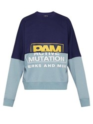 P.A.M. S.Loops Halfway Contrast Panel Cotton Sweatshirt Navy
