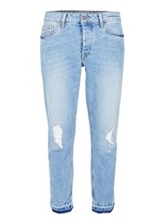 Topman Light Wash Blue Ripped Raw Hem Stretch Skinny Jeans