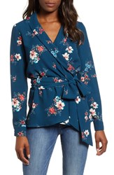 Gibson Wrap Blouse Teal Shaded Floral