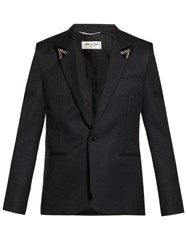 Saint Laurent Beaded Peak Lapel Striped Blazer Black