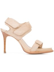 Ann Demeulemeester Hook And Loop Sandals Women Leather Suede 36.5 Nude Neutrals