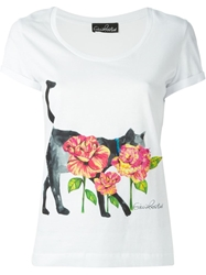 Giulia Rositani Cat And Flower Print T Shirt