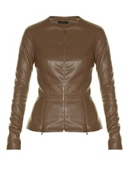 The Row Anasta Collarless Leather Jacket Khaki