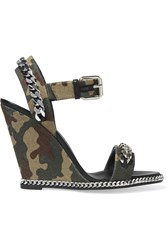 Giuseppe Zanotti Chain Embellished Camouflage Print Canvas Wedge Sandals Green