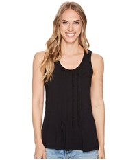 Dylan By True Grit Vintage Soft Cotton Pleated And Ruffle Tank Top Black Sleeveless