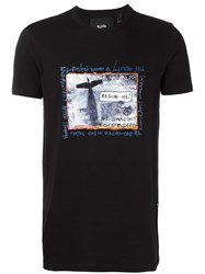 Blood Brother Plane Print T Shirt Black