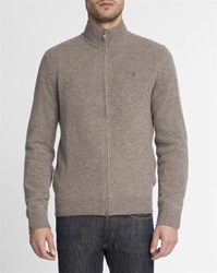 Hackett Beige Contrast Elbow Patch Zip Up Logo Cardigan