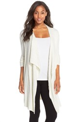 Women's Barefoot Dreams Cable Knit Drape Front Cardigan Pearl
