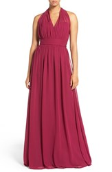 Hayley Paige Occasions Women's Ruched Waist Chiffon Halter Gown Azalea