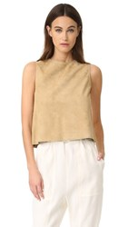 Vince Cropped Suede Shell Khaki