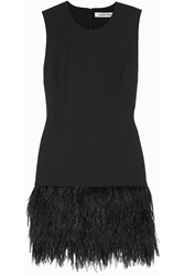 Elizabeth And James India Feather Trimmed Stretch Ponte Mini Dress