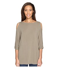 Michael Stars Lycra Jersey 3 4 Sleeve Cold Shoulder Tunic Olive Moss Women's Long Sleeve Pullover