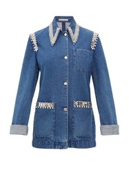 Christopher Kane Crystal Trimmed Point Collar Denim Jacket Denim