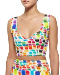 Alexis Ayden Printed Sleeveless Crop Top Multi Colors