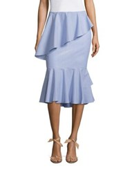 Scripted Tiered Ruffled Midi Skirt Blue White