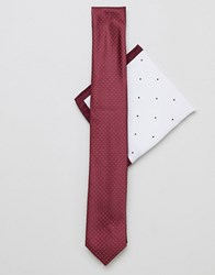 New Look Tie And Pocket Square In Burgundy Red Pattern