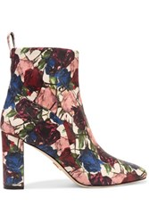 Chelsea Paris Tess Floral Print Leather Ankle Boots Claret