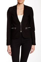 Dex Snakeskin Textured Trim Blazer Black